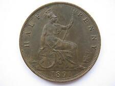 1891 Queen Victoria Halfpenny, GVF.