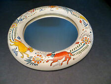 Vintage handpainted ceramic mirror with traditional design Taxco Mexico #270A