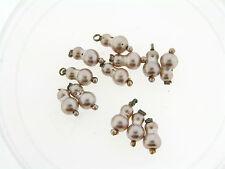 Vintage Japan Silver Champagne Glass Pearl Peanut Shape Drop Charm Bead Lot