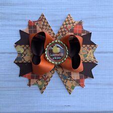 Handmade Fall Thanksgiving Autumn Pumpkin Boutique Hair Bow