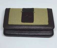 TOMMY BAHAMA FRONT POCKET KHAKI BROWN CANVAS LEATHER CARD WALLET NEW IN GIFT BOX