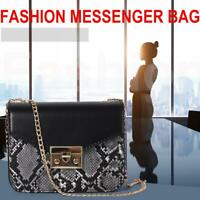 Snake Print Shoulder Messenger Packs PU Leather Women Chain Crossbody Bags