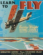 """New """"Learn To Fly Curtis Wright Flying Service"""" Advertising Metal Sign, Wall Art"""