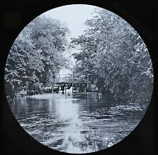 c1890s Magic Lantern Slide Photo View On The River Thames Eel Bucks Culham Court