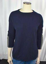 $345 VINCE XS COLORBLOCK Crew CASHMERE SWEATER Navy/Gray Tunic Blue F15c