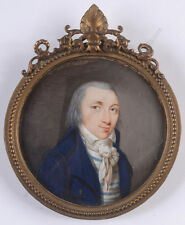 """Portrait of a gentleman (period of Directory)"" fine French miniature, 1795/1800"