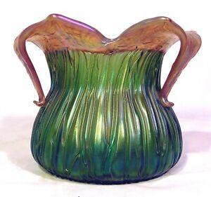 Antique Loetz Kralik Green Iridescent Art Glass Vase Rusticana Crete Chine