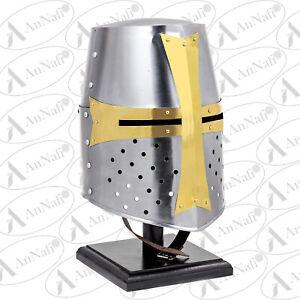 Medieval Knight Armor Crusader New Templar Helmet Helm w/ Mason's Brass Cross US