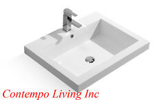 27-Inch Stone Resin Solid Surface Square Shape Bathroom Drop In / Topmount Sink
