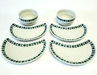 Vintage SP Coimbra, Portugal, Ceramic 4 Crescent Plates and 2 Bowls Pottery