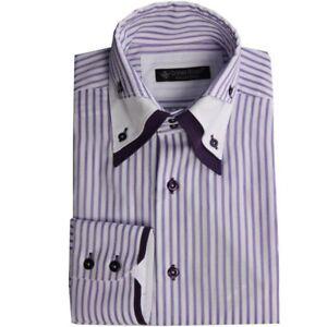 Daniel Rosso Men's Fashion Striped Trio Collar Long Sleeve Shirt Purple White S