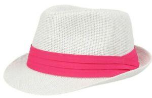 Straw Hat Trilby Paper Mens Ladies Sun UV Summer Beach Holiday Black Navy Light
