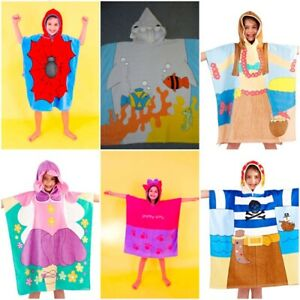 Kids Hooded Poncho Towel Girls Boys Large size Beach Bath Swim Children's