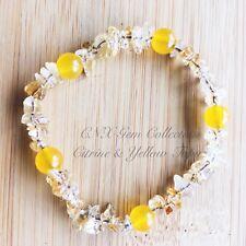 Gemstone Crystal Citrine ChipStone N Yellow Topaz Beads Stretchy Bracelet C