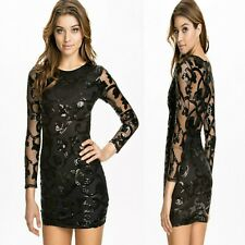 Sz 8 10 Black Sequin Long Sleeve Cocktail Evening Prom Party Slim Fit Mini Dress