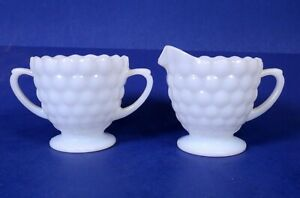 White Hobnail Milk Glass Creamer & Sugar Bowl Set