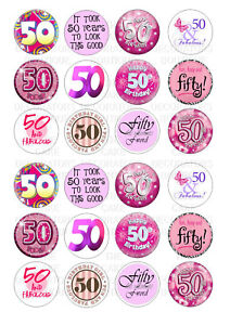 24 50th Birthday Female Cupcake Toppers Rice Wafer Paper Edible
