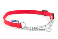 Ancol Dog Half Nylon Chain Check Collar Puppy Training Pink Black Red Blue