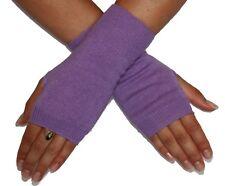 "Silk Cashmere knit Fingerless Warm Gloves Light Purple 8"" long OneSize Unisex"