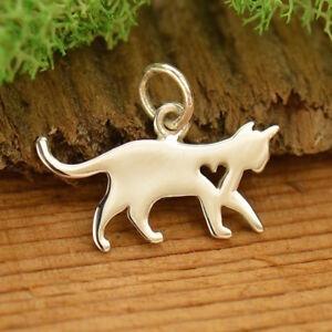 925 Sterling Silver Cat Necklace Kitten Charm Kitty Feline Animal Pendant 1701