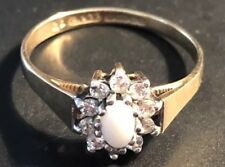 Vintage 9ct Gold -Opal And Cubic Zirconia Cluster Ring ,Size O,-1.70g #GT