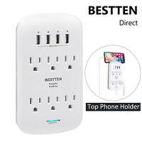 BESTTEN 1200J 4.2A 6 Outlet Surge Protector Wall Tap Adapter w/ 4 USB Ports ETL