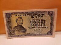 CZECHOSLOVAKIA 20 Korun 1945 (PH) P61a  SPECIMEN UNC