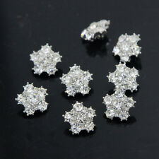 8 Pcs Diamante Silver Rhinestone Crystal Flower Shank Buttons Sewing DIY Craft
