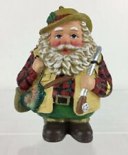 "Vintage Hard Plastic Fishing Santa Claus Christmas Ornament or Figurine 4"" tall"