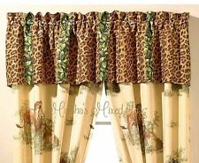 "Safari Jungle Brown Leopard Animal Print WINDOW Treatment 16""x 84"" VALANCE"