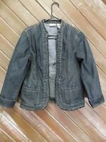 Chico's Platinum Jacket Denim Blue Jean Open Front Ruffle Hem Women's Size 1
