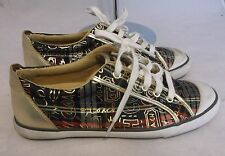 Coach Barrett Sneakers Q332 Gold Plaid Scribble Print Size 9 M Pre-Owned