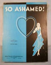 So Ashamed Sheet Music Vintage 1932 By Milton Ager & Benny Davis Voice Piano (O)