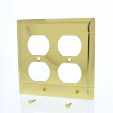 P&S Polished BRASS 2-Gang Dual Duplex Receptacle Outlet Cover Wallplate B82-PBD