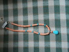 $135 J King Turquoise and Salmon STERLING coral pendant