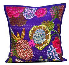 Ethnic Decorative Purple Pillow Case Kantha Stitch Floral  Cushion Cover ACC2P