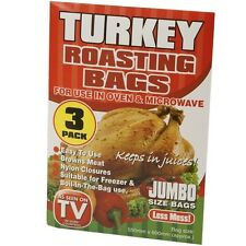 3 x XL Turkey Roasting Bags Freezer Boil In The Bag Oven Microwave Poultry Meat