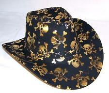 1 new WOMENS GOLD SKULL AND CROSS BONES COWBOY HAT ht64 dance supplies cowgirl