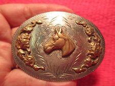 VINTAGE BAR-J DENVER CO Ornate Fancy Hand Made HORSE HEAD Belt Buckle MAKE OFFER