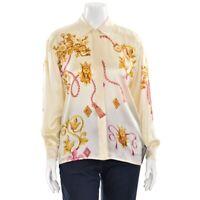 Escada Margaretha Ley Cream Gold Fuchsia Graphic Print Silk Blouse Shirt sz 38/8
