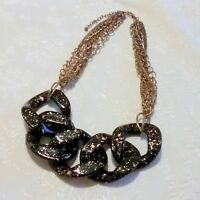 Multi Chain Black Lucite Link Statement Necklace