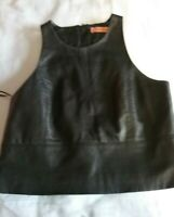 RODEO SHOW CUTE BLACK 100% LEATHER CROPPED SLEEVELESS TOP SIZE 6.