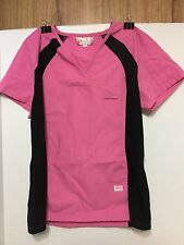 EUC Awesome Silky Soft Scrub by Professional Choice Uniforms Top XS Pink & Black