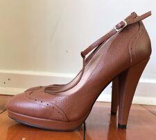 Shoes of Prey High Tan Brown T Bar Platform Leather Heels. US 8/EU 39 Wide (C).