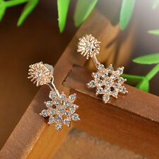 For Christmas Day Gift Shiny Crystal Crystal Snowflake Dangle Stud Earrings