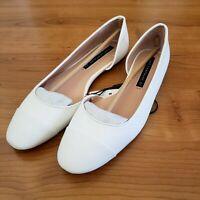 Zara Trafaluc Women US 6.5/EUR 37 White Embossed Ballet Flat d'Orsay Shoes NWT