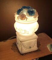 Lovely Cute Tiny Vintage Floral Milk Glass Night Light Nite Lite Nightlight Lamp