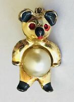 Teddy Bear Brooch With Pearl Style Belly Animal Pin Badge Vintage (F11)