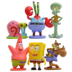 6 Pieces Spongebob Fish Tank Aquarium Ornament Decoration Figure Toy Kids Gift