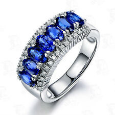 Blue Sapphire Fashion Engagement Ring CZ 10Kt White Gold Filled Women's Size J-Y